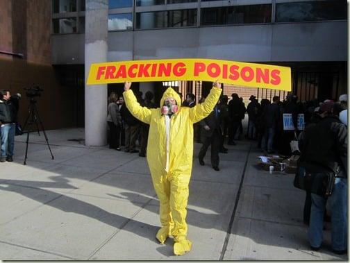 Fracking Poisons protester