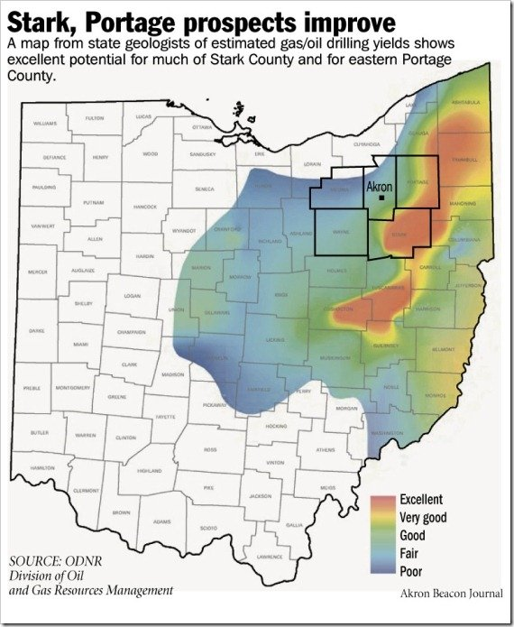 Ohio DNR Map of Gas Drilling Prospects