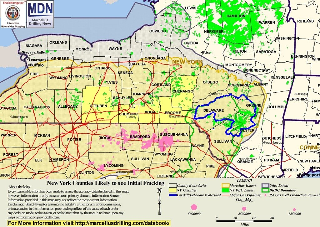 MDN Map Of NY Counties Likely To See Initial Fracking Free - New york state map with counties