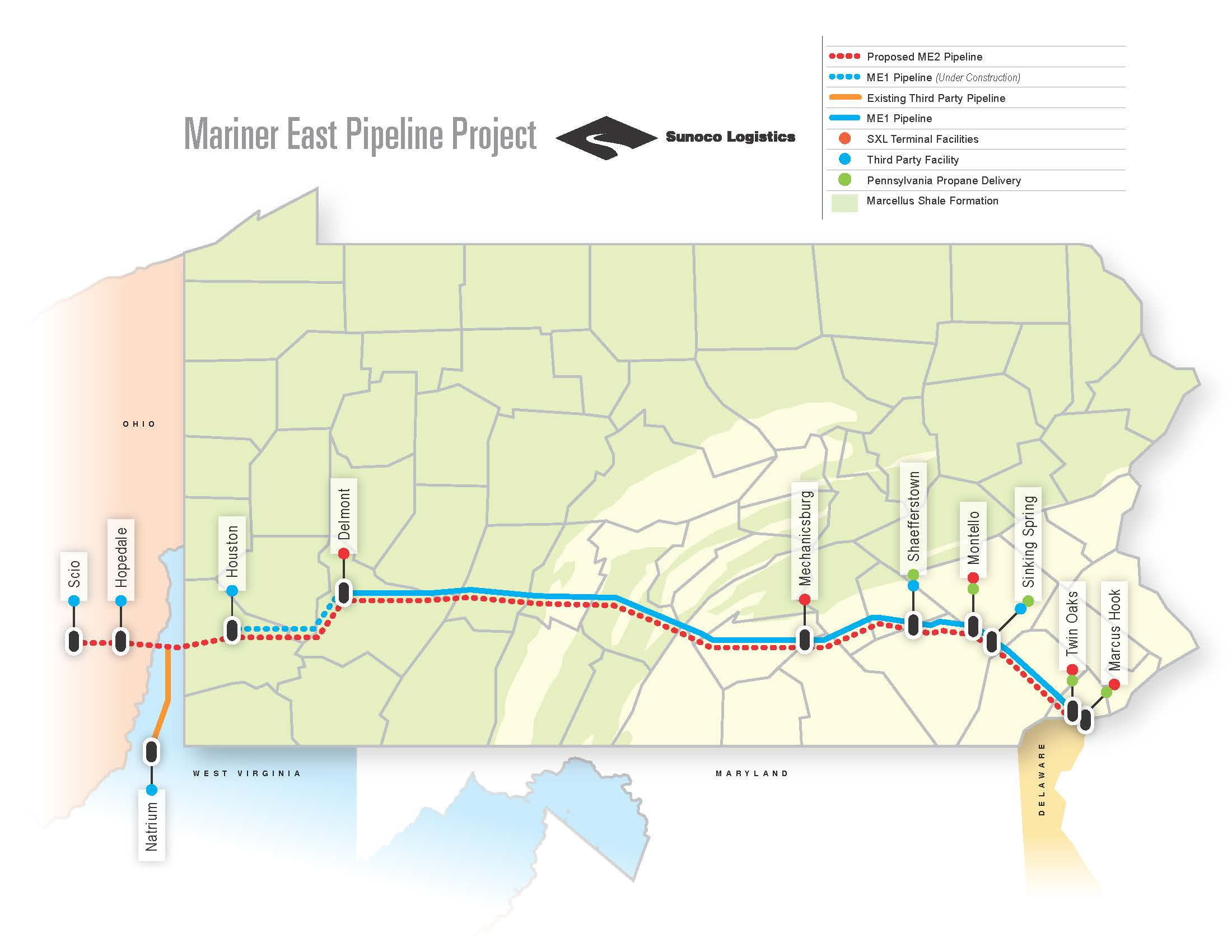 Mariner East Pipeline Project map