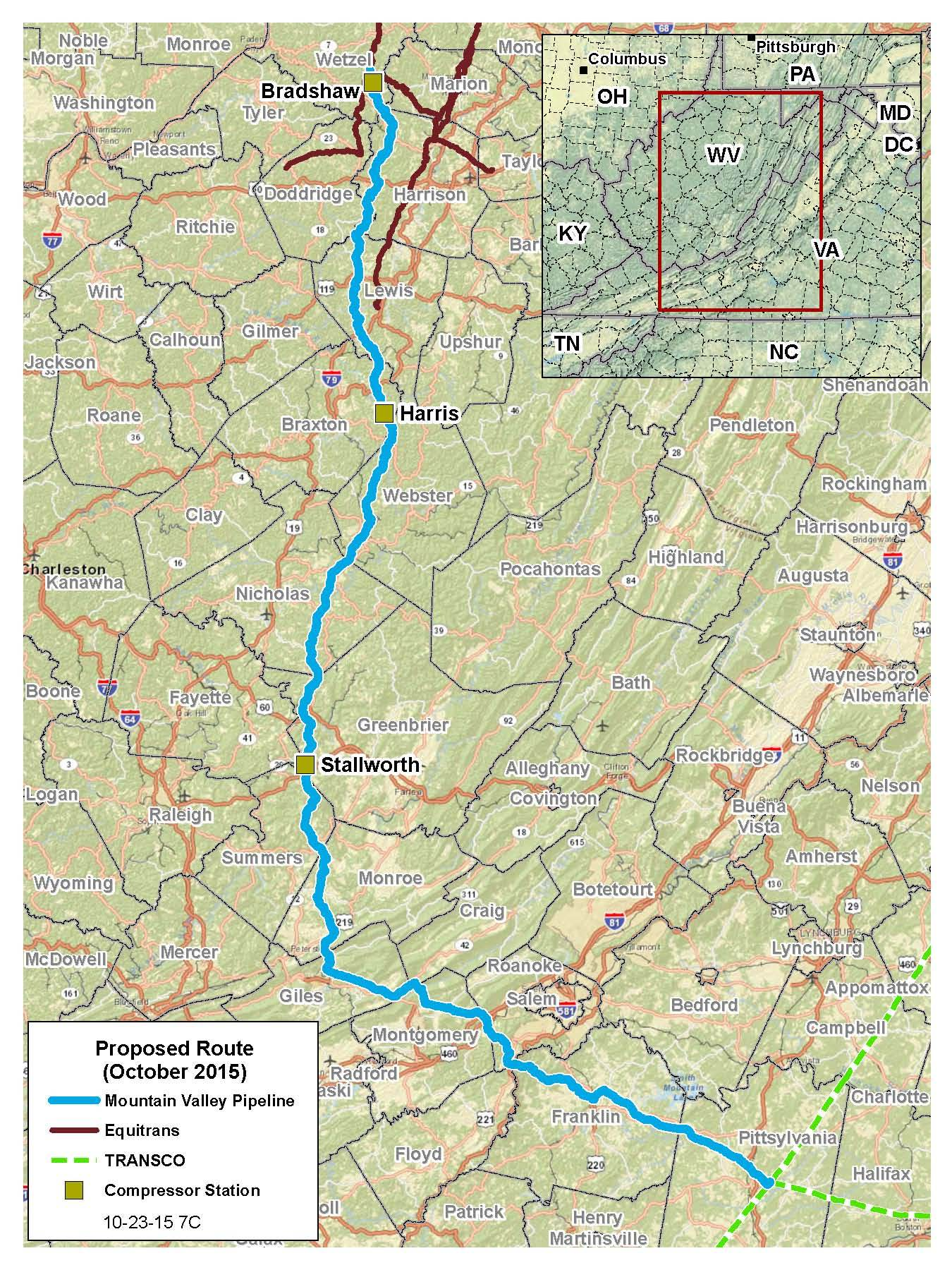 Mountain Valley Pipeline proposed route