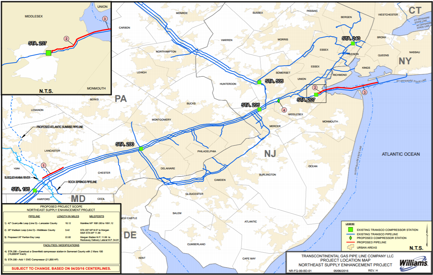 Transco Northeast Supply Enhanacement Project map