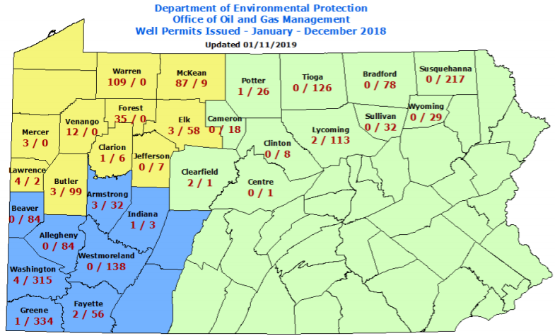 PA Permits & Wells Drilled in 2018 – Maps | | Marcellus
